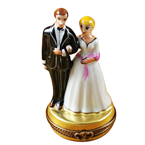 Limoges Imports Bride W/Pink Sash & Groom Limoges Box
