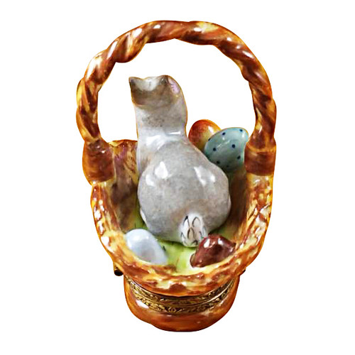 Limoges Imports Bunny In Brown Basket Limoges Box