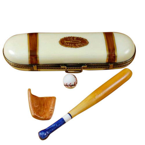 Limoges Imports Baseball Case W/ Glove/Bat/Ball Limoges Box