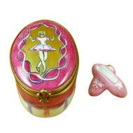 Limoges Imports Ballerina On Oval With Toe Shoes Limoges Box