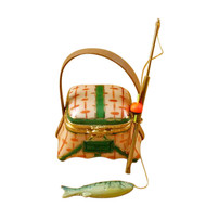 Limoges Imports Fishing Basket W/Rod Limoges Box