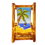 Limoges Imports Lounge Chair W/Palm Tree Limoges Box