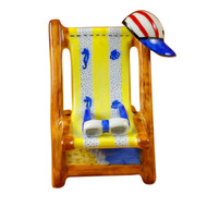 Limoges Imports Lounge Chair W/Red/White/Blue Hat Limoges Box