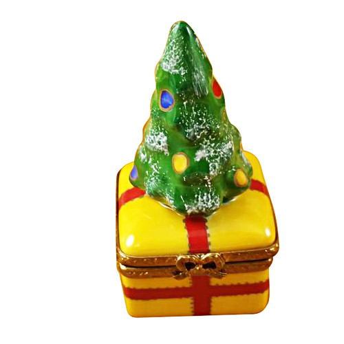 Limoges Imports Christmas Tree On Yellow Base Limoges Box