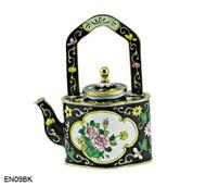EN09BK Kelvin Chen Black Floral Enamel Teapot
