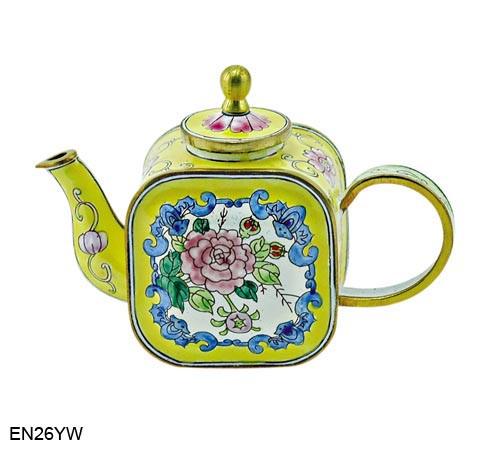 EN26YW Kelvin Chen Yellow Floral Enamel Teapot