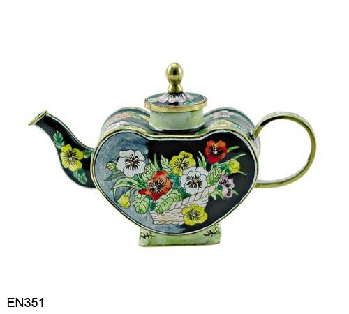 EN351 Kelvin Chen Heart Shape Flower Basket Enamel Teapot