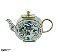 EN358WT Kelvin Chen White Floral Enamel Teapot