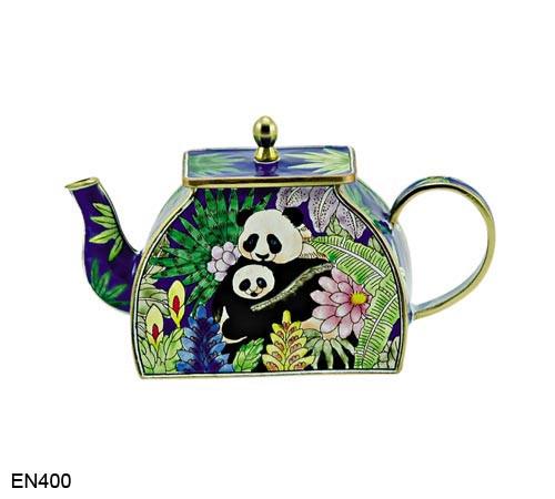 EN400 Kelvin Chen Panda Bears Enamel Teapot