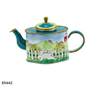 EN442 Kelvin Chen RETIRED Bunny in Field Enamel Teapot