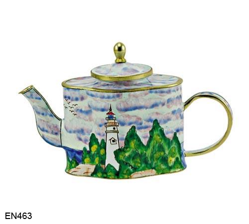 EN463 Kelvin Chen Lighthouse Countryside Enamel Teapot