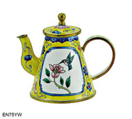 EN75YW Kelvin Chen Flower and Hummingbird Yellow Enamel Teapot