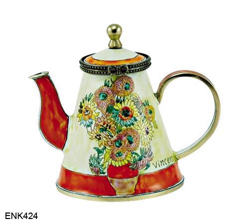 ENK424 Kelvin Chen Vincent Van Gogh Sunflowers Enamel Hinged Teapot