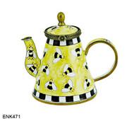 ENK471 Kelvin Chen Bumblebees Enamel Hinged Teapot