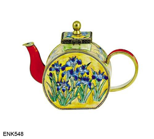 ENK548 Kelvin Chen Blue Flowers Japanese Iris Enamel Hinged Teapot