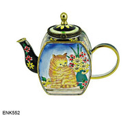 ENK552 Kelvin Chen Cat and Flowers Enamel Hinged Teapot