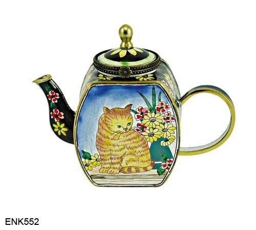 ENK552 Kelvin Chen Cat and Flowers Enamel Hinged Teapot