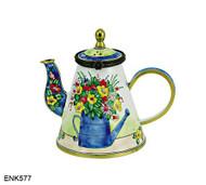 ENK577 Kelvin Chen Watercan Flowerpot Enamel Hinged Teapot