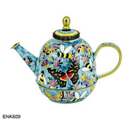 ENK609 Kelvin Chen Bees and Butterflies Enamel Hinged Teapot