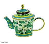ENK616 Kelvin Chen Frogs on Lily Pond Enamel Hinged Teapot