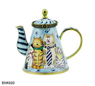 ENK620 Kelvin Chen Cats in Ties Enamel Hinged Teapot