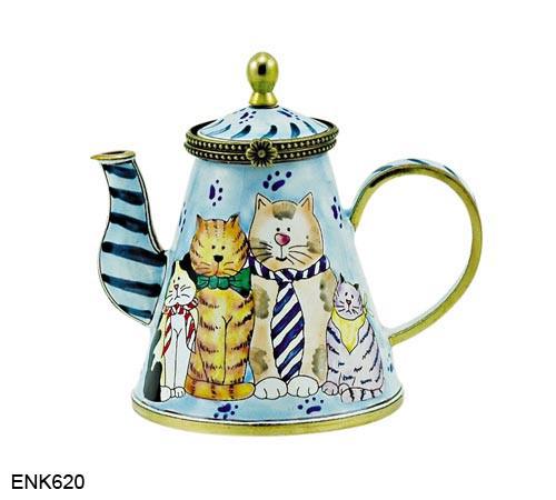 ENK620 Kelvin Chen Cats in Ties Enamel Hinged Teapot