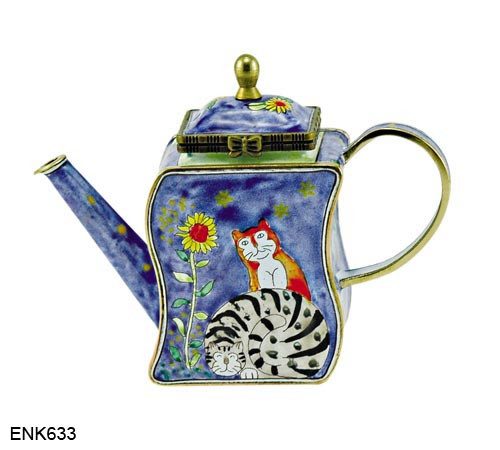 ENK633 Kelvin Chen Two Cats with Sunflower Enamel Hinged Teapot