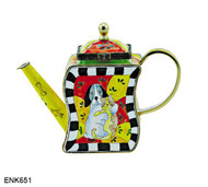 ENK651 Kelvin Chen Dog Loving Cat Enamel Hinged Teapot