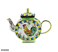 ENK655 Kelvin Chen Rooster, Dragonfly and Bumblebee Enamel Hinged Teapot