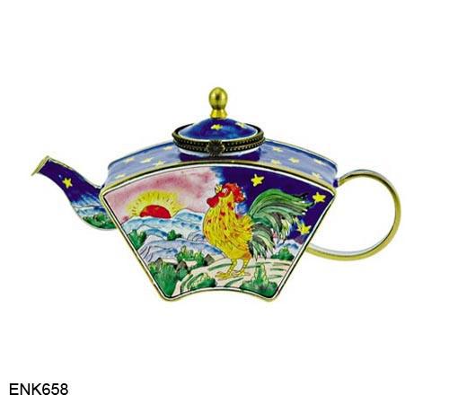 ENK658 Kelvin Chen Rooster Sunrise Enamel Hinged Teapot
