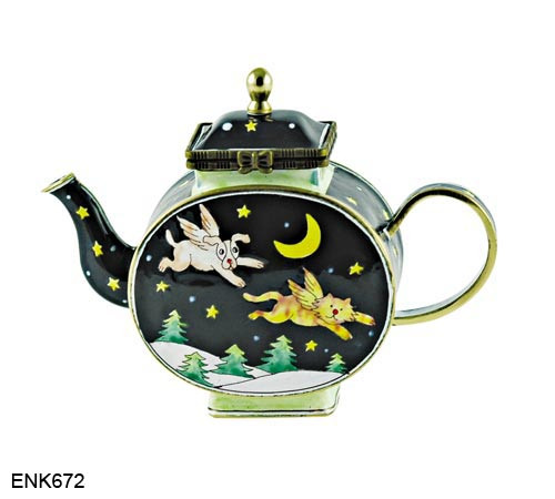ENK672 Kelvin Chen Cat and Dog Flying Enamel Hinged Teapot