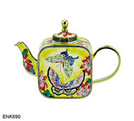 ENK690 Kelvin Chen Butterfly Floral Enamel Hinged Teapot