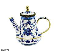 ENK775 Kelvin Chen Blue Deco Enamel Hinged Teapot