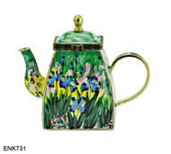 ENK731 Kelvin Chen Wild Iris Enamel Hinged Teapot