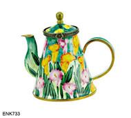 ENK733 Kelvin Chen Calla Lilies Enamel Hinged Teapot