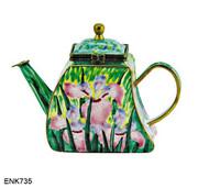 ENK735 Kelvin Chen Siberian Iris Enamel Hinged Teapot