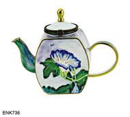 ENK736 Kelvin Chen John La Farge Blue Flower Enamel Hinged Teapot