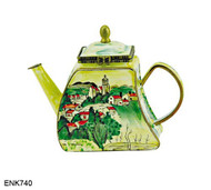 ENK740 Kelvin Chen Cezanne Village of Gardanne The Brooklyn Museum, NY Enamel Hinged Teapot
