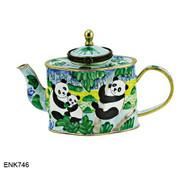 ENK746 Kelvin Chen Panda Bears Enamel Hinged Teapot