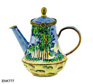ENK777 Kelvin Chen Monet Poplars Enamel Hinged Teapot