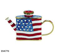 ENK776 Kelvin Chen USA Flag Enamel Hinged Teapot