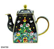 ENK759 Kelvin Chen Christmas Birdhouse Tree Enamel Hinged Teapot