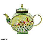 ENK816 Kelvin Chen Vincent Van Gogh View of Saintes-Maries Enamel Hinged Teapot