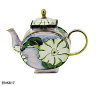 ENK817 Kelvin Chen White Morning Glory Enamel Hinged Teapot