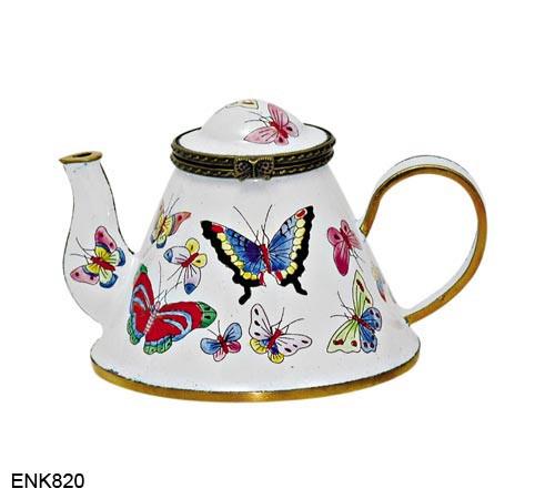 ENK820 Kelvin Chen Butterflies Enamel Hinged Teapot