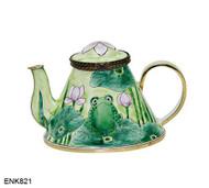 ENK821 Kelvin Chen Frog On Lilypad Enamel Hinged Teapot