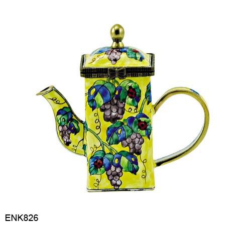 ENK826 Kelvin Chen Grapes & Ladybugs Enamel Hinged Teapot