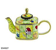 ENK827 Kelvin Chen Home Sweet Home Enamel Hinged Teapot