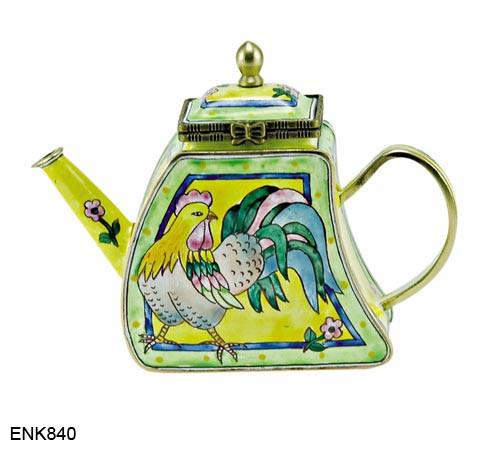 ENK840 Kelvin Chen Rooster & Flowers Enamel Hinged Teapot