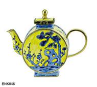 ENK846 Kelvin Chen Oriental Yellow & Blue Enamel Hinged Teapot